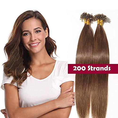 Extension capelli veri cheratina 200 ciocche castani 100g - 100% remy human hair indiani naturali u tip hair extensions 0.5 grammo/fascia (40cm #4 marrone medio)