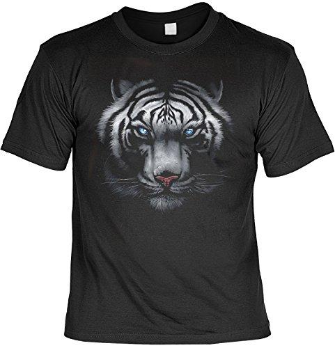 Fun T-Shirt mit Tigerkopf-Motiv blauen, hervorstechenden Augen und roter Schnauze, ideal als Geschenk, Farbe schwarz Schwarz