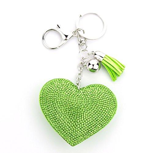 MANUMAR Schlüsselanhänger Handtaschen Dekoration in Herz Motiv aus glitzernden Strass Steinen mit Kordel und Fransen Geschenkidee