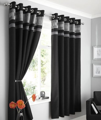 Grey And Black Curtains Amazon Co Uk