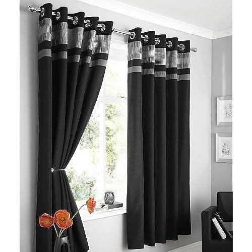 Black Silver Curtains Amazon Co Uk