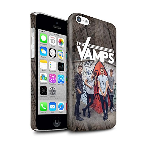 Offiziell The Vamps Hülle / Glanz Snap-On Case für Apple iPhone 5C / Pack 6pcs Muster / The Vamps Fotoshoot Kollektion Holz-Effekt