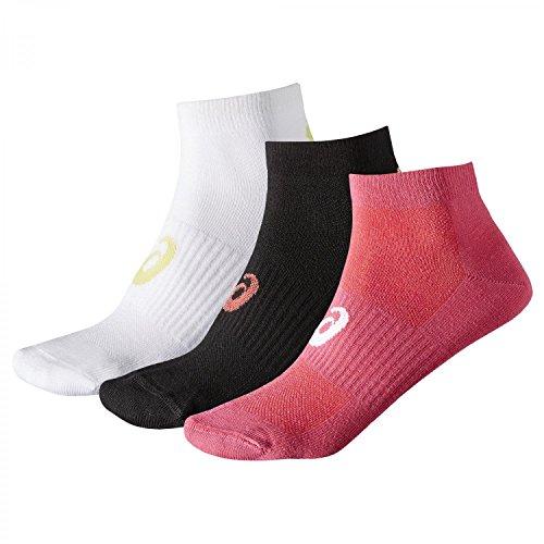 Asics Ped (3 UNIDADES), calcetines hombre, blanco/negro/rosa, Talla 4 (47-49 EU)