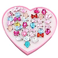 DIY House Little Girls Crystal Adjustable Rings Princess Dress Up Play Jewelry Rings Toys for Kids Children Birthday Party Supplies with Heart Shaped Pink Box