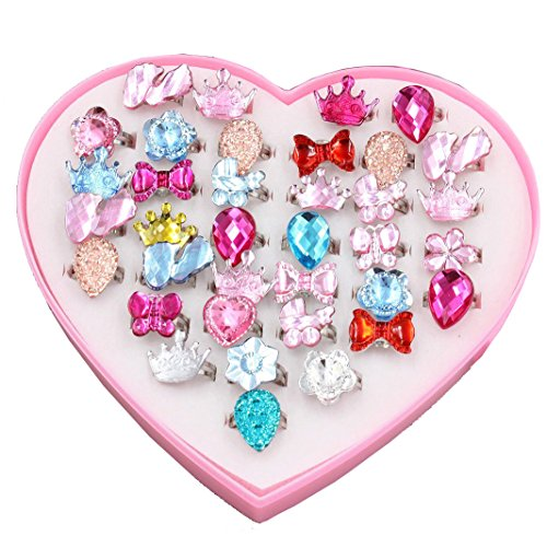 24 PCS Little Girls Crystal Adjustable Rings Princess Dress Up Play Jewelry...