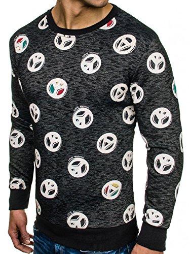 BOLF Sweatshirt Pullover ohne Kapuze Herren Motiv MADMEXT 1707 Schwarz