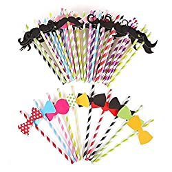 Tinksky 60pcs Multicolored Bowknot and Mustache Style Reusable Drinking Straws