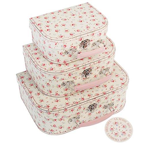 Rex Lot de 3 valisettes carton - Petite Rose