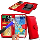 N4U Online® Red Clip On PU Leather Wallet Case Cover &