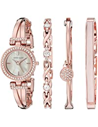 Anne Klein Women's AK/2238RGST Swarovski Crystal Accented Rose Gold-Tone Bangle Watch and Bracelet Set