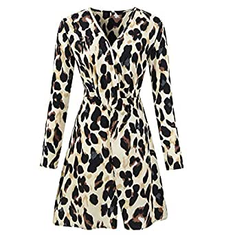 ad14029775a Image Unavailable. Image not available for. Colour: JIANGfu Fashion Women  Autumn Winter Leopard Print V Neck Mini Dress Ladies Casual Long Sleeve  Party