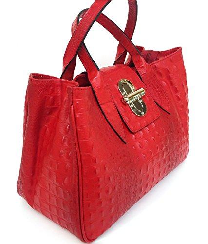 SUPERFLYBAGS Borsa Bauletto Donna in Vera Pelle stampa Coccodrillo modello Milena Large Made in Italy Rosso
