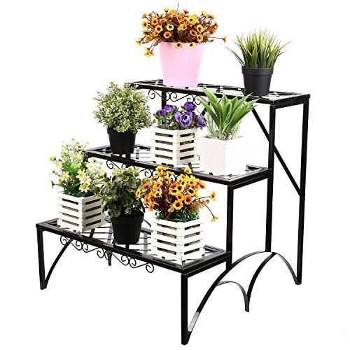 HOMFA Etagère de Jardin pour Plantes Etagère de Fleurs Plantes Étagère de Rangement 3 Niveaux en Fer 60*60*60CM Noir