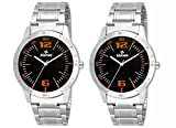 Gionee Set of 2 Analog Black Dial Watch For Boy's & Men's