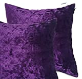 "Pair of 20""x20"" Large Plain Crush Velvet Cushion Covers 10 Colours Purple"