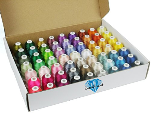 Preisvergleich Produktbild Simthreads 63 Farben Polyester Stickgarn - 1.100 Yards, für Brother / Babylock / Janome / Kenmore / Singer Stickmaschine