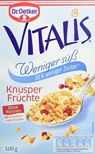 Dr. Oetker Vitalis Weniger Süß Frucht, 6er Pack (6 x 500 g Packung) (Herrliche Haferflocken)