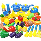 Winni43Julian 34 Stück Kochgeschirr Set für Kinder, Plastik Kinderküche Topf für Kinder, Küchenspielzeug für Kinderküche, Küchenzubehör Kinderküche Topf (Blau + Gelb