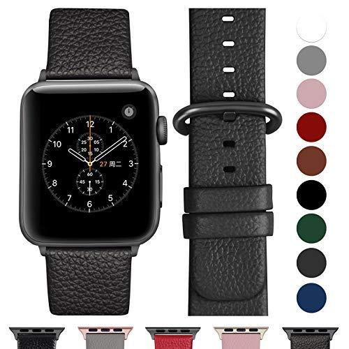 Fullmosa kompatibel Watch Armband 42mm und 38mm, Echtes Leder Uhrenarmband Ersatzband für Watch Series 3,2,1, Nike+ Hermes&Edition,Space grau+Spacegrauschnalle 42mm - Se Billig 3 Serie