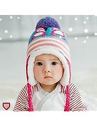 HuntGold mignon coloré manchot avec casquette velours chaud hiver cache-oreilles chapeau pour bébé rose vif