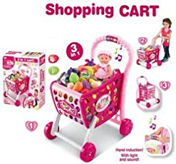 WonderKart 3 in 1 Kids Hand Induction Shopping Cart with Light & Music - Pink