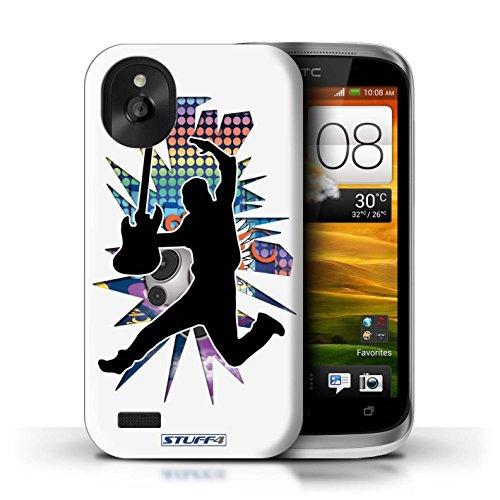 Kobalt® Imprimé Etui / Coque pour HTC Desire X / Chanteur Blanc conception / Série Rock Star Pose Saut Blanc