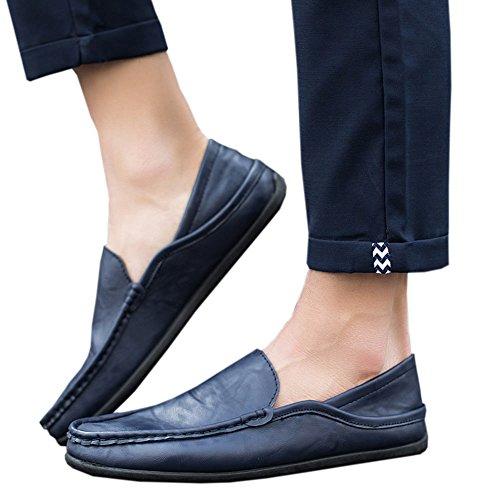 Xinvision New Mode Hommes Hiver Pantoufles Mocassins Plat Chaussures Bateau Doux Slippers Bleu