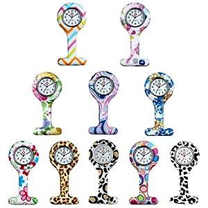 Lancardo 10pcs Mädchen Damen Taschenuhr, Krankenschwester Uhr Analog Quarzuhr, Silikon Ansteckuhren Schwesternuhr, Rose schwarz rot