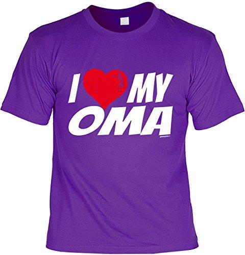 Familien/Oma/Sprüche/Spaß-Shirt/Fun-Shirt: I love my Oma geniale Geschenkidee Lila