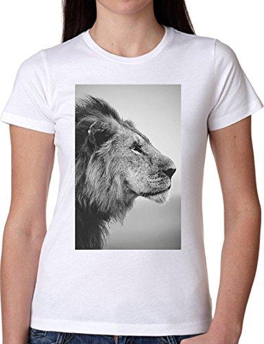 T SHIRT JODE GIRL GGG22 Z1703 FELINE WILD ANIMAL KING AFRICA LIFESTYLE FUN FASHION COOL BIANCA - WHITE