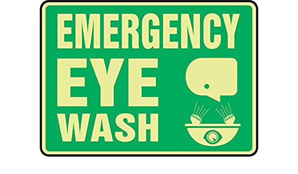 10 Length x 14 Width x 0.010 Thickness Glow on Green Accuform MLFS562GF Lumi-Glow Flex Adhesive Safety Sign LegendEMERGENCY EYE WASH with Graphic
