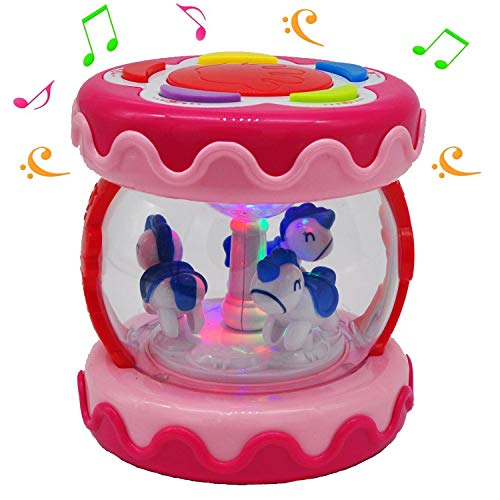 MARKKEER Baby Musical Toy Carousel Music Drum,Activity Center with Lights, Sounds and Music Early Educational Toys for Infants and Toddlers