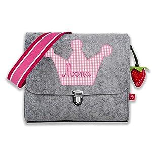 Kindergartentasche mit Namen Filztasche für Mädchen mit Krone Prinzessin von la fraise rouge