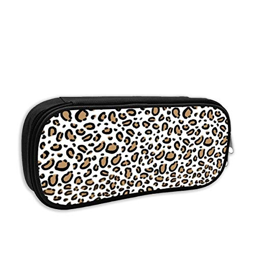 Leopard Animal Print With White Background Natural Tan Cheetah Spots Cute Pencil Case Pencil Pouch Stationery Organizer Multifunction Double Zippers Large Capacity Tan Animal-print