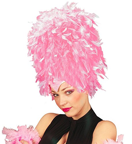 Samba Kostüm Rio - Damen Feder Pailletten Kopfschmuck Hut Flamingo Showgirl Samba Brasilien Rio Kostüm Kopfbedeckung Kostüm-Zubehör, Farbe:Rosa