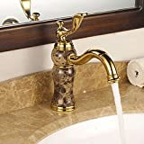 LHbox Die Gold-Kupfer Kaltes Wasser die Oberfläche auf der Jade doppelwaschbecken Antike Badezimmer Schrank Antike Badezimmer, Kaffeemaschine Titan