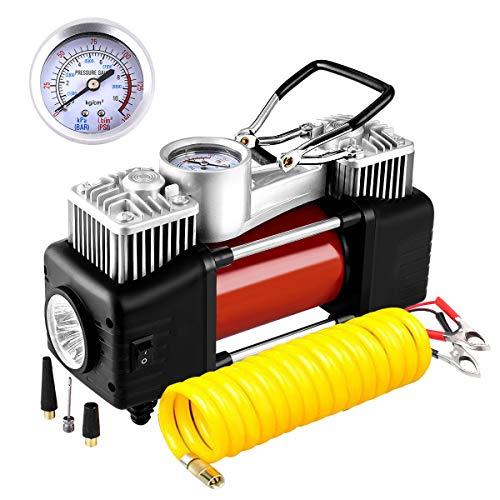 Audew Luftkompressor Doppelzylinder Luftpumpe Reifen Inflator Tragbare Auto Reifenpumpe mit Manometer, LED-Lampe und 3 Meter Verlängerungsrohr für Auto, Fahrrad, Luftmatratze und andere Inflatables -