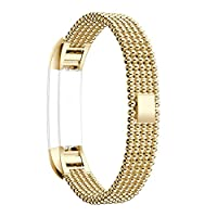 For Fitbit Alta Bands, For Fitbit Alta HR Strap, Rosa Schleife Fitbit Fitness Wristband Five Round Beads Design Smart Watch Stainless Steel Adjustable Replacement Accessory Sport Wrist Band Straps Buckle Clasp Link Bracelet Wrist Strap with Metal Connectors Adapter for Fitbit Alta 2016 / Fitbit Alta