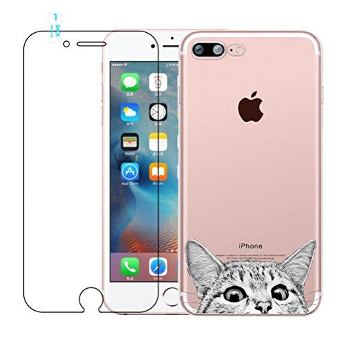 iPhone 7 Plus Hülle, iPhone 8 Plus Hülle, Kreative Ultradünne Lustig Katze Muster Durchsichtig Silikon Cover TPU Gel Bumper Schutzhülle Weich Schutz Handyhülle Tasche Etui für iPhone 7 Plus / 8 Plus