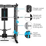Capital Sports Pro Amaze Smith Machine • Powerrack • Multipresse • 2 Safety-Spotter • 16-Fach höhenverstellbar • Robustes Stahlrohr • inkl. Klimmzugstange • ca. 184 x 210 x 170 cm (BxHxT) • schwarz - 6