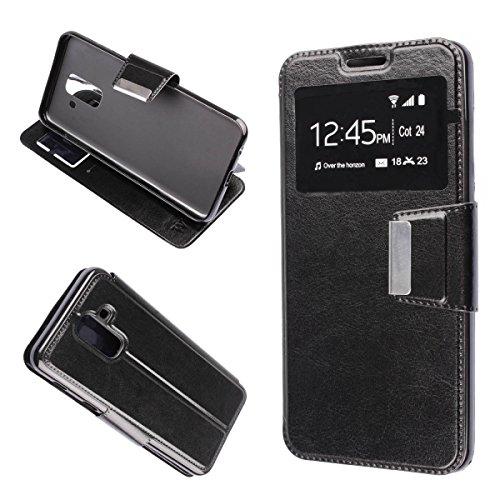 Misemiya ® ®  - Funda Samsung Galaxy A6 Plus 2018 / Samsung Galaxy A9 Star Lite - Funda Solo, Libro View Sporte,Negro