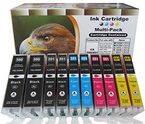 Preisvergleich Produktbild 10 komp. XL Druckerpatronen mit Chip und Füllstandsanzeige für CANON Pixma ip 7250 8750/ Canon Pixma MG 5450 5450s 5550 5650 6350 6450 6650 7150 7550 / Canon Pixma MX 725 925 / Canon Pixma ix6850 (2 x schwarz CANON PGI-550BK / 2 x photoschwarz CANON CLI-551BK / 2 x cyan CANON CLI-551C / 2 x magenta CANON CLI-551M / 2 x yellow CANON CLI-551Y