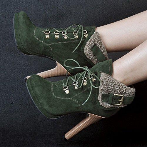 De Botas Mulheres Stiletto Sapatos Verde Até 13cm Bico De Kolnoo Salto Inverno Redondo Rendas Faschion RIqxw7Zd7