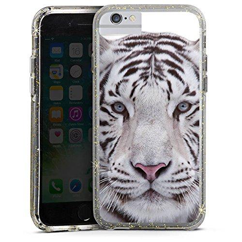 Apple iPhone X Bumper Hülle Bumper Case Glitzer Hülle Schneetiger White Tiger Bumper Case Glitzer gold