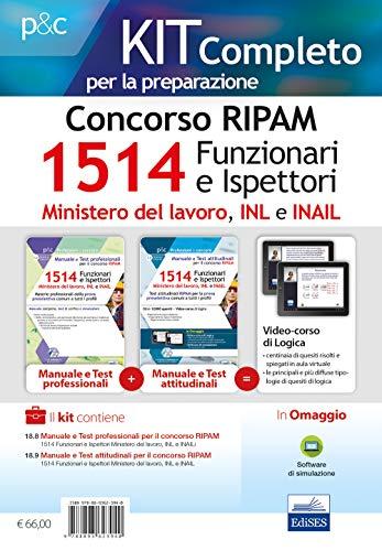 Concorso RIPAM 1514 Funzionari e Ispettori nel Ministero del lavoro, nell'INL e nell'INAIL. Manuale e Test per la prova preselettiva. Kit di AA. VV.
