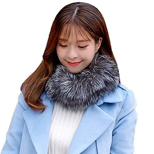 Damen Schal kunstpelz, künstliche Wolle Winter warme Schal Mädchen Faux Fur Kragen Schal Wraps Stitching Animal Print Faux Wrap
