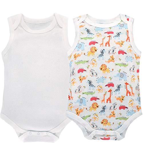 Mädchen Ärmelloses Baumwoll-pyjamas (Baby Bodys 2er Pack Jungen Mädchen Strampler Ärmellos Jumpsuit Baumwolle Schlafanzug 9-12 Monate)