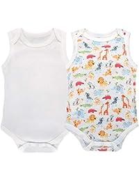 Body Bebé-Niñas Pack de 2 Body Sin Mangas Malla Monos ...