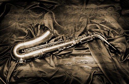 Fototapete selbstklebend Saxophon - sephia 155x100 cm - Wandtapete - Poster - Dekoration - Wandbild - Wandposter - Bild - Wandbilder - Wanddeko (Saxophon Wohnungen)