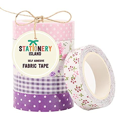 Stationery Island Creative Adhesive Fabric Tape for Scrapbooking - Set of 6 mixed designs - PALE PINK AND PURPLE DOTS, LILAC CHECKS AND FLORAL